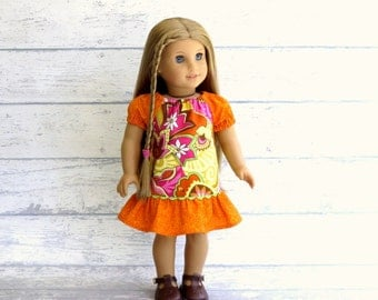 American Girl Doll Dress, Mod Peasant Dress, 18 inch Doll Clothes