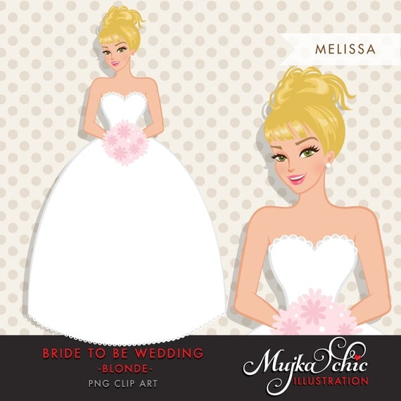 Blonde Bride Clipart Bride To Be Wedding Clipart Character-7132