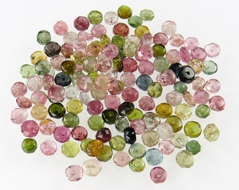 Set of 135 Watermelon Tourmaline 3mm to 4mm Faceted Rondelles