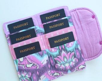 Passport Holder Travel Document Wallet Tula Pink fabric in Purple