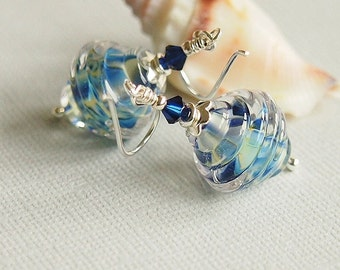 Blue Glass Bead Earrings, Sterling Silver, Metallic, Beaded Earrings, Ribbed Artisan Lampwork - ATLANTIC