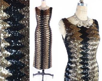 Vintage 50s Dress // 1950s Dress // Sequin Dress // Wiggle Dress // Metallic Dress // Chevron Dress - sz M - 29 Waist