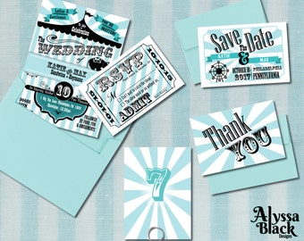 Carnival - Wedding Invitation Set - Customizable Instant Download