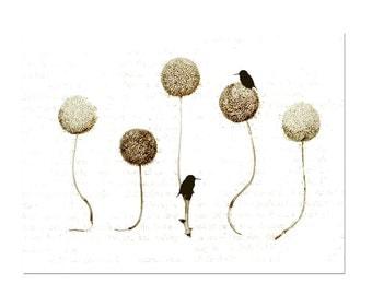 Bird Art Print, Whimsical Animal Art, Modern Nature Artwork