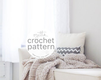 Crochet Pattern / Chunky Blanket Throw, Afghan / THE BARROW Blanket