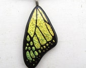 Fused Glass Butterfly Wing Jewelry Necklace Pendant Art Yellow Green