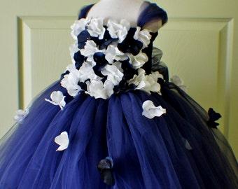 Flower Girl Dress, Tutu Dress, Photo Prop, Navy Blue & Ivory, Flower Top, Tutu Dress, Birthday Wedding Party Holiday Bridesmaid Flower Girl
