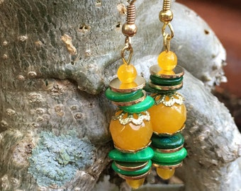 Green Shell And South American Yellow Topaz Earrings