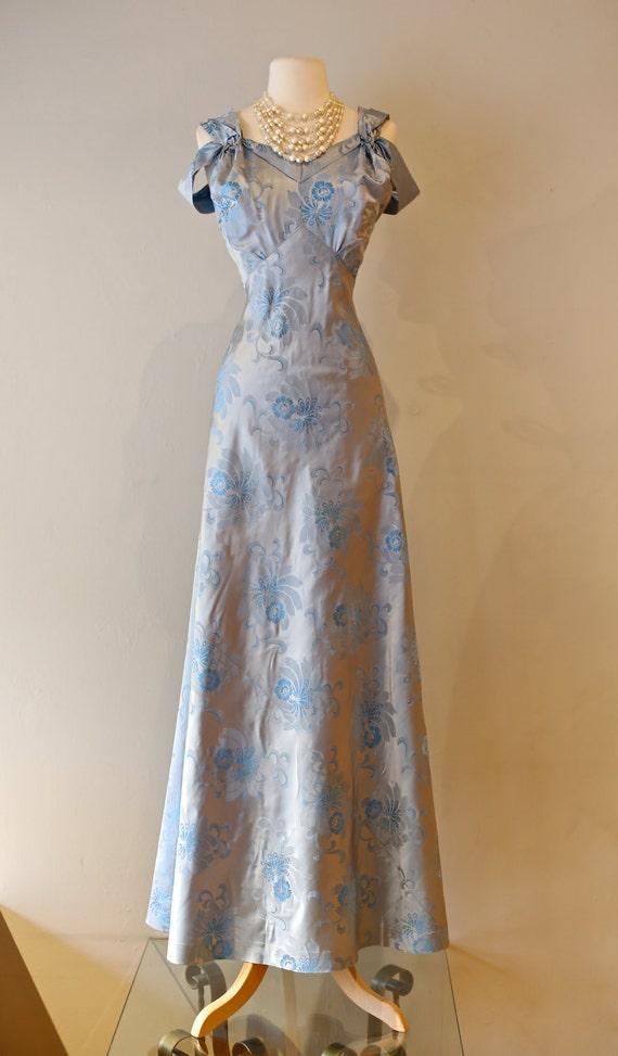 Vintage 1930 S Silk Evening Gown Vintage 30s Blue Silk