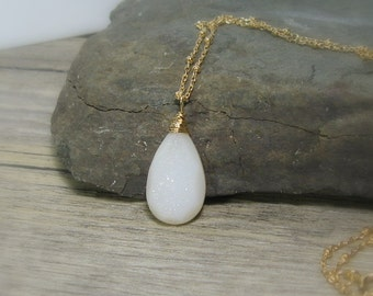 """Druzy Necklace, White Druzy Solitaire Pendant, Gold Fill,  20"""" Necklace, Gemstone Pendant, Long Necklace, Gifts for her, Bridal"""