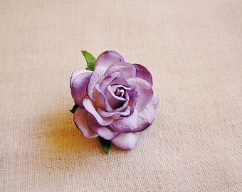 Lavender Ombre Sweetheart Rose Millinery flower Brooch Pin- wedding corsage boutonniere, paper jewelry, decoration, embellishment