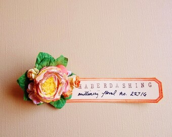 Peach Puff Vintage Style Rose Brooch Handmade Glittered Millinery Flowers