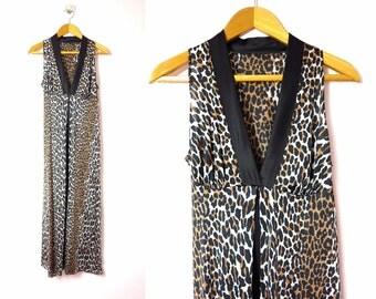 1970s Vanity Fair Leopard Print Nightgown M
