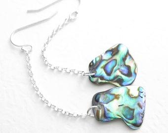 Green Paua Sea Shell Earrings, Blue Abalone Jewelry, Ocean Themed Earrings, Sterling Silver Chains