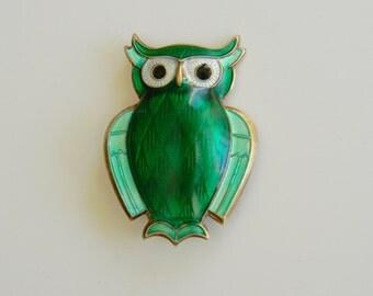 Vintage 2-Toned Green Enamel Guilloche Sterling Silver Owl Brooch by David Andersen Norway