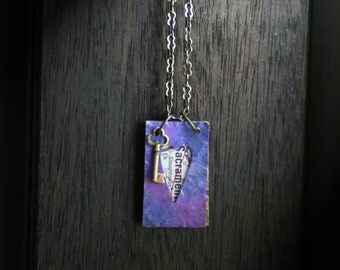 Little Key Purple: US Map And Painted Brass Journal Necklace