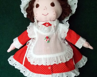 Little Annie cloth doll in red and white