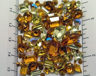 100 ALL Swarovski Yellow Rhinestone Lot - 1st quality - vintage and new - fancy shapes & round - tiny to large - topaz jonquil  crystal clay