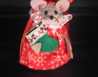 Christmas Mouse Holding a Stocking
