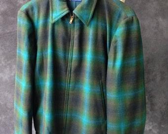 1950's 1960's Pendleton Sportster jacket blue green shadow plaid wool Large