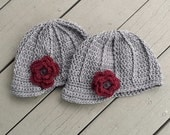 You and Me kid - 2 pack Heather Grey Beanie set