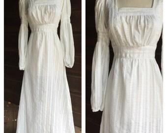 70s Boho Wedding Dress - 1970s Bohemian Poet Sleeve Maxi Dress -70s Does Edwardian Dress