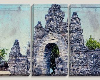 Pura Luhur Uluwatu Temple's Old Gate, Bali, Indonesia, Triptych Large Canvas Art, Photography, Brick Wall Decal, Grey, Ocean Blue, Culture