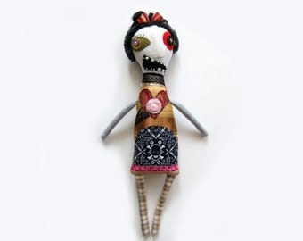 Fiona - a one of a kind zombie rag doll- spooky cute