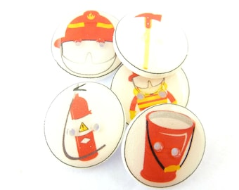 "5 Fireman or Fire Fighter Buttons. 3/4"" or 20 mm Sewing Buttons. Fireman Buttons."