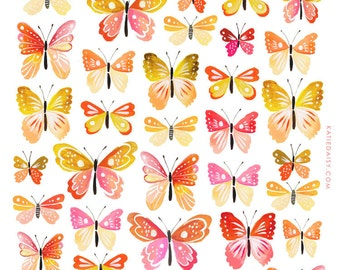 Peach Butterfly Collection art print | Nature Decor | painting | Katie Daisy