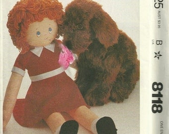 1980s McCalls 8118 36 Inch Little Orphan Annie Doll Pattern Doll Dress and 20 Inch Sandy Dog Pattern Vintage Toy Sewing Pattern UNCUT