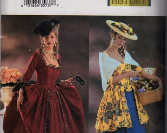 Butterick 3640 Misses Historical Costume Pattern Renaissance French Provincial Womens Sewing Pattern Size 6 8 10 Bust 30 31 32 UNCUT