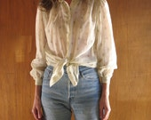 1970s SHEER FLORAL puffed sleeve blouse, s
