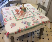 Vintage Broderie Tablecloth Dancing Butler & Maid