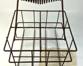 Vintage Rusty Milk wire milk bottle carrier