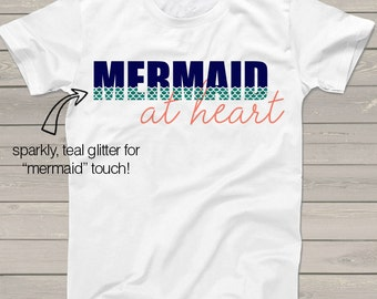 Mermaid at heart sparkly glitter Tshirt - perfect for sea loving girls MATWG