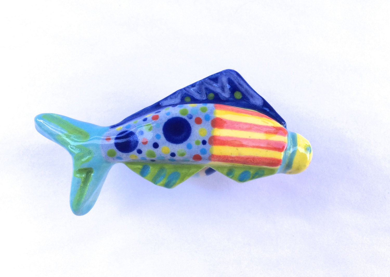 Fish knob fish drawer pull cabinet pulls ceramic knobs for Fish drawer pulls