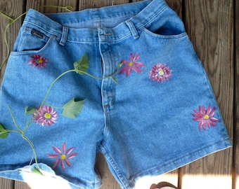 Handpainted Shorts Womens Blue Jeans Shorts Painted Floers Unique One of a Kind Shorts