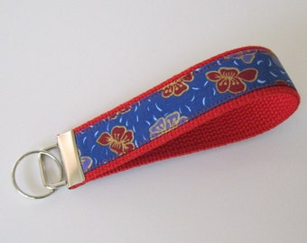 Wristlet Key Fob - Red/Blue Floral