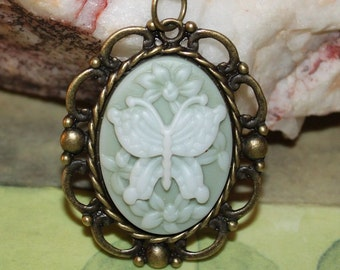 Pale Green Butterfly Victorian Style Cameo Pendant Necklace
