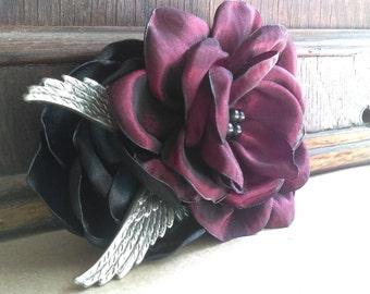 Handmade taffeta fabric flower brass wings hair clip fascinator