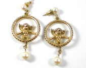 Reserved for SISI- Angel Earrings - Gold Angel Pierced Earrings - Dangle Earrings - Faux Pearl Earrings - Vintage Jewelry