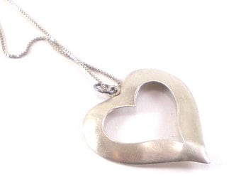 Sterling Silver Heart Pendant Necklace Love Valentine Vintage Jewelry