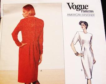 Vogue Designer Dress Pattern Geoffrey Beene Size 12 Bust 34 Womens Long Sleeve Tapered Dress Back Pleat Pattern UNCUT