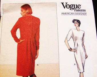 Vogue American Designer Pattern, designer Geoffrey Beene, Size 12 Bust 34, UNCUT Womens Tapered Dress, Back Pleats, Vogue Pattern