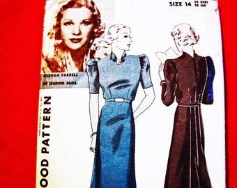 1930s Dress Pattern Hollywood Pattern Glenda Farrell Misses size 14, Back Flare Skirt Panel Raised Neckline Dress