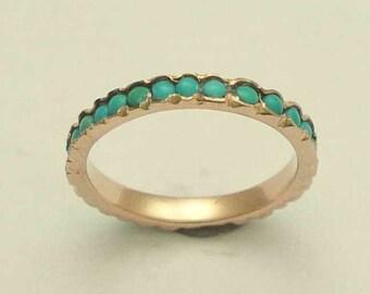 Eternity ring, Solid Rose gold band, thin band,  turquoise stones band, wedding band, gemstones ring, turquoises ring, rose gold ring RG0911