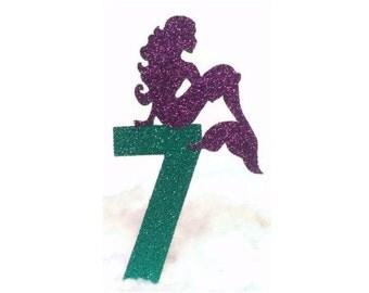 Mermaid Cake Topper, Mermaid Party, Custom Age Topper, Birthday Number Cake Topper