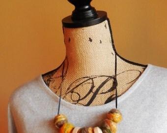 Wearable Art Necklace..Wood and Felted Beads Necklase..Fiber Art..Caramel....Felted Necklace...Elegant....Unique