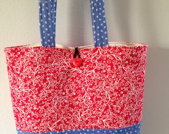 Blue and Red Tote